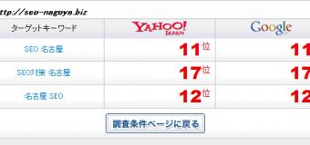 「SEO 名古屋」で1ページ目目前!ホワイトハットSEO対策だけで11位まで検索順位上昇してきてます!!